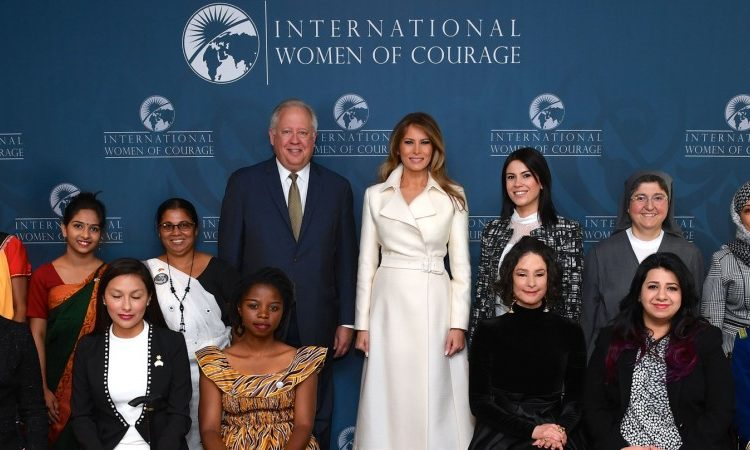 First Lady Melania Trump and Under Secretary of State for Political Affairs Thomas A. Shannon pose for a photo with the 2017 Secretary of State's International Women of Courage Awardees before a ceremony at the U.S. Department of State in Washington, D.C., on March 29, 2017. (State Department Photo/ Public Domain)