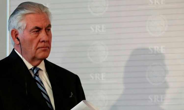U.S. Secretary of State Rex Tillerson walks on stage during a joint press conference with Mexico's Foreign Relations Secretary Luis Videgaray at the Foreign Affairs Ministry in Mexico City, Thursday, Feb. 23, 2017. (AP Photo/Rebecca Blackwell)